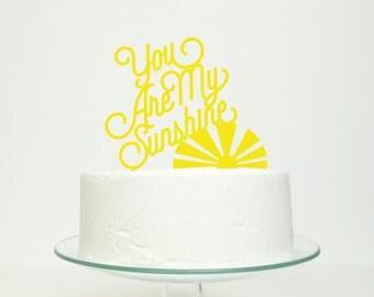 You Are My Sunshine - Wedding Celebration Party Gold Glitter Cake Topper