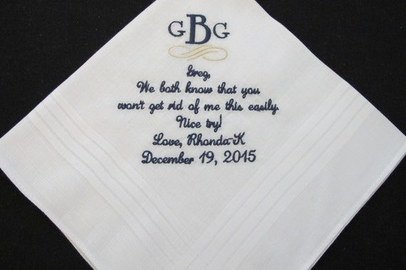 Wedding Handkerchief embroidered for the Stepfather of the Bride. Use this verse or choose your own 40 words.