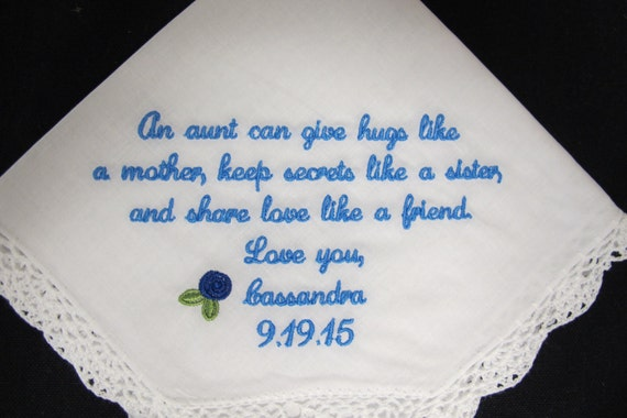 Embroidered Womans Handkerchief for Aunt of the Bride