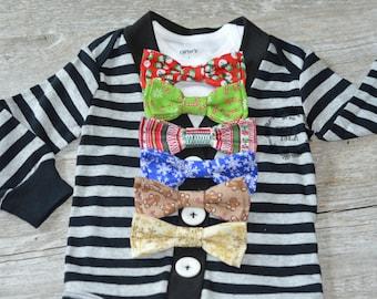 Baby Boy Cardigan Onesie and Bow Tie Set-Black & Grey Stripe Long Sleeve- Little Mister Cardigan Onesie Set