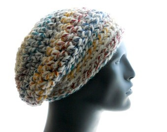Men's Slouchy Hat, 'Hudson's Bay' Crochet Beanie, Wool - Blend Slouchy, Medium Size