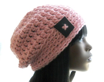 Women's Crocheted Wool - Blend Slouchy Hat in Blossom Pink, Medium Size