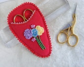 Red butterfly and flowers scissors case
