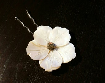 Fall Foliage Plumeria Mother of Pearl Flower Hair Pin