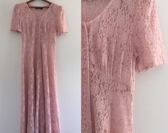Vintage 80's Lace Maxi Dress / Dusty Rose Blush Romantic Dress S M