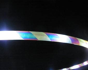 White LED Hoop with spiral of Blue Sky (indgo sunrise) color morph tape- clear protection tape and grip included