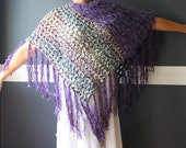 "Crochet Poncho Wrap Shawl with Fringe Gypsy Hippie Boho Unique One Of A Kind ""Purple Oasis"""