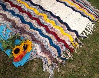 Crochet Ripple Afghan,Knit Chevron Blanket,Bohemian Blanket,Chunky Knit Blanket,Hippie decor,Gypsy Decor,Cream,Blue,Red,Yellow,Teal,Taupe
