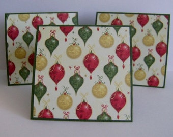 Holiday SALE ** Set of 3 Christmas Ornament gift enclosure cards
