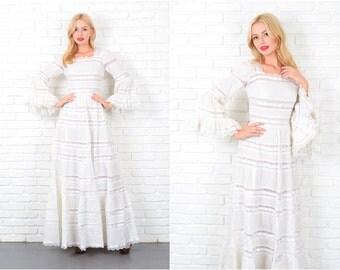 Vintage 70s White Mexican Wedding Dress Angel Slv Lace Cutout Midriff Maxi XS 4108