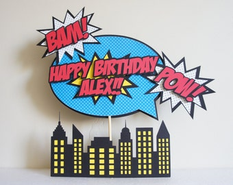 Superhero Comic Book Inspired Personalized Birthday Cake Topper