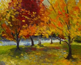 Parkside Harvest Original Landscape Oil Painting on Canvas