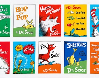 "Dr Seuss Titles Soft Book PANEL from Robert Kaufman by Dr Seuss Enterprises - 23.5""x44"""