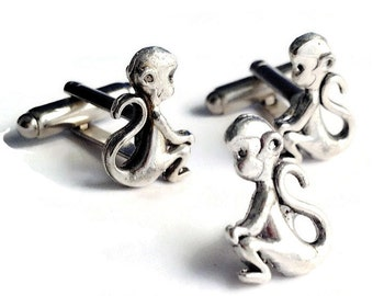 SALE Silver Monkey Cufflinks & Tie Tack, Men's Handcrafted Zoo Primate Animal Cuff Links Set- Guys Gift Prom Groom Wedding