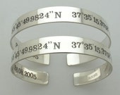 Custom Coordinates Mens Bracelet - Relationship Present - Mens Gifts - Two Side Engraved Cuff - Personalized Jewelry. Engraved  Silver Cuff