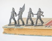 Vintage tin soldiers USSR, Soviet naval infantry, pewter toys set 4, collectable grey toys USSR, Soviet soldiers toys rare, home decor kids