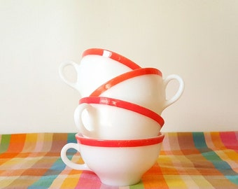 Retro 1950 Pyrex Coral  Pink Cups Coffee Tea Cups  Set of 4 Cups Retro Pyrex Cups Coral Dinnerware White Coral Pink Cups