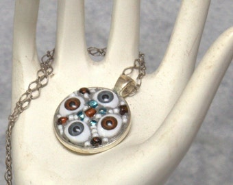 Four Eyes, Doll Eye mosaic pendant, hand made FLAT RATE SHIPPING