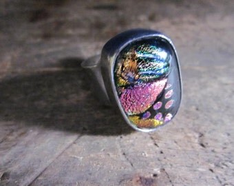 FREE SHIPPING Vintage Sterling Silver Mexican Dichroic Modern Looking Glass Ring Possible Size 7