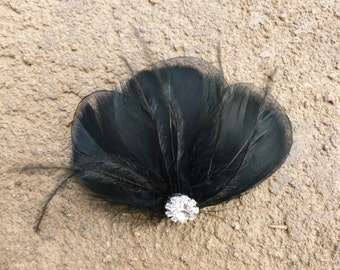 Black feather clip, feather accessory, white feather fascinator