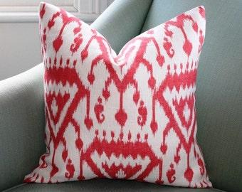 Schumacher Vientiane Coral Ikat Pillow Cover