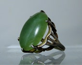 Green Nephrite jade Sterling Silver Size 6 Ring Polished Cabochon Translucent DanPickedMinerals