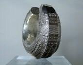Vintage Cuff Primitive Bedouin Bracelet Hollow Ornate Stamped Silver Cuff Bracelet Vintage Persian Jewelry Small Wrist DanPickedMinerals