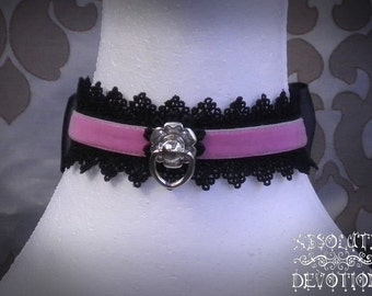 Clara Collar in Pink and Black with Large Bow - Made To Order - Absolute Devotion