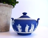 Wedgwood cobalt blue jasperware sugar bowl