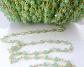 30% off Wholesale Sea Foam Green Chalcedony Wire Wrapped Beaded Chain - Gold Rosary Style Chain - PER FOOT (CHN-285)