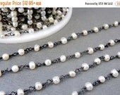30% off Wholesale Pearl on Oxidized Sterling Silver Wire Wrapped Chain - Delicate Pearl Prayer Chain- PER FOOT  (CHN-90)