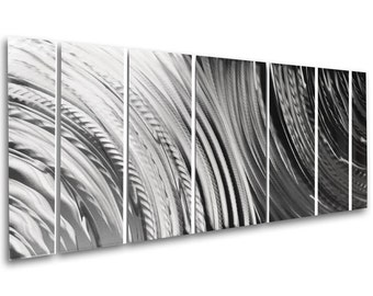 Modern Abstract Large Metal Wall Sculpture Art Silver Aluminum Painting Home Decor by Brian M Jones Contemporary Artwork Metal Wall Panels