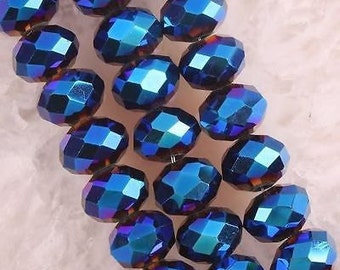 100pcs 3x4mm Metallic Blue Color Rondelle Crystal spacer Beads for jewelry making