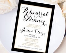 Wedding Rehearsal & Dinner Invitation - 5 x 7 - Personalized - Vintage Antique Gold and Black - I Create and You Print