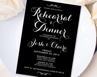 Wedding Rehearsal & Dinner Invitation - 5 x 7 - Personalized - Vintage White on Black - I Create and You Print