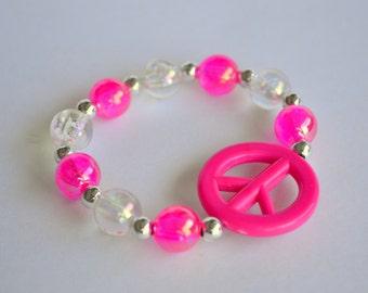 Girls pink peace bracelet