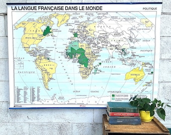 World MAP | Large Vintage Wall Map | French School Map | Political & Geographical Map | Two-Sided Reversible Map of the Francophone World