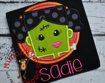 Frankenstein Monster Girl - Halloween Applique Shirt customized with name - Girl's Halloween Shirt - Holiday Designs - Monogrammed Shirt
