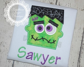 FrankieStein Halloween Shirt  - Halloween Applique Shirt - Boy's Halloween Shirt - Holiday Designs - Monogrammed Shirt