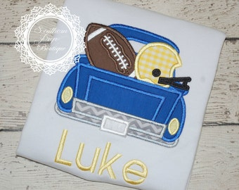 Football Truck Applique Shirt - Custom Monogram or name - Boy's Applique shirt - Football Applique Design