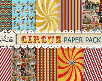 Circus Digital Papers, Instant Download, Scrapbook paper, Cards, Carnival Decorations, craft supplies, red, yellow background paper, stripes