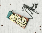 Hand painted wood necklace,colorful floral necklace,flower necklace