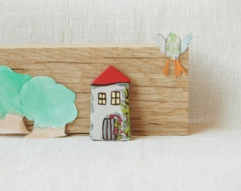 Little house brooch, hand painted wood brooch,house pin