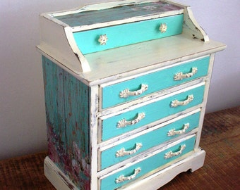 Vintage Cream light teal Flora Wooden Jewelry Box/Music box