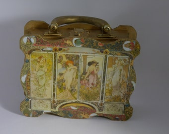 "vintage   handbag 1960's  "" MUCHA""  unique piece art bag paris"