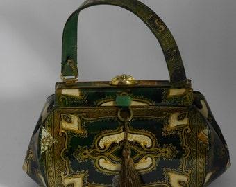 """Vintage couture  handbag """" LOUVRE  """"unique piece  retro chic art bag steampunk bag french  touch"""