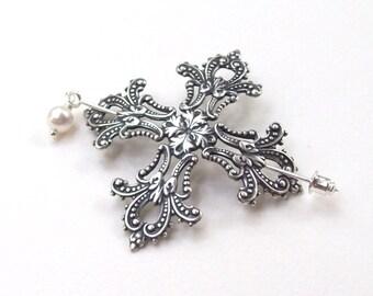 Gothic Cross Shawl Pin, Silver Lapel Pin, Goth, hair Slide, silver shawl pin, sweater pin, hat pin, fashion, silver scarf pin