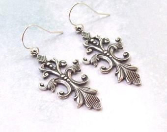 Victorian Earrings, Fleur De Lis Earrings, Dangle Earrings, french hooks, vintage style, fall fashion, sterling silver earrings, 925