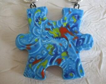 """Charmant collier avec pendentif en céramique """"Puzzle: la pièce manquante"""""""