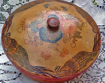 Vintage Papier Mache Japanese Tole Bowl